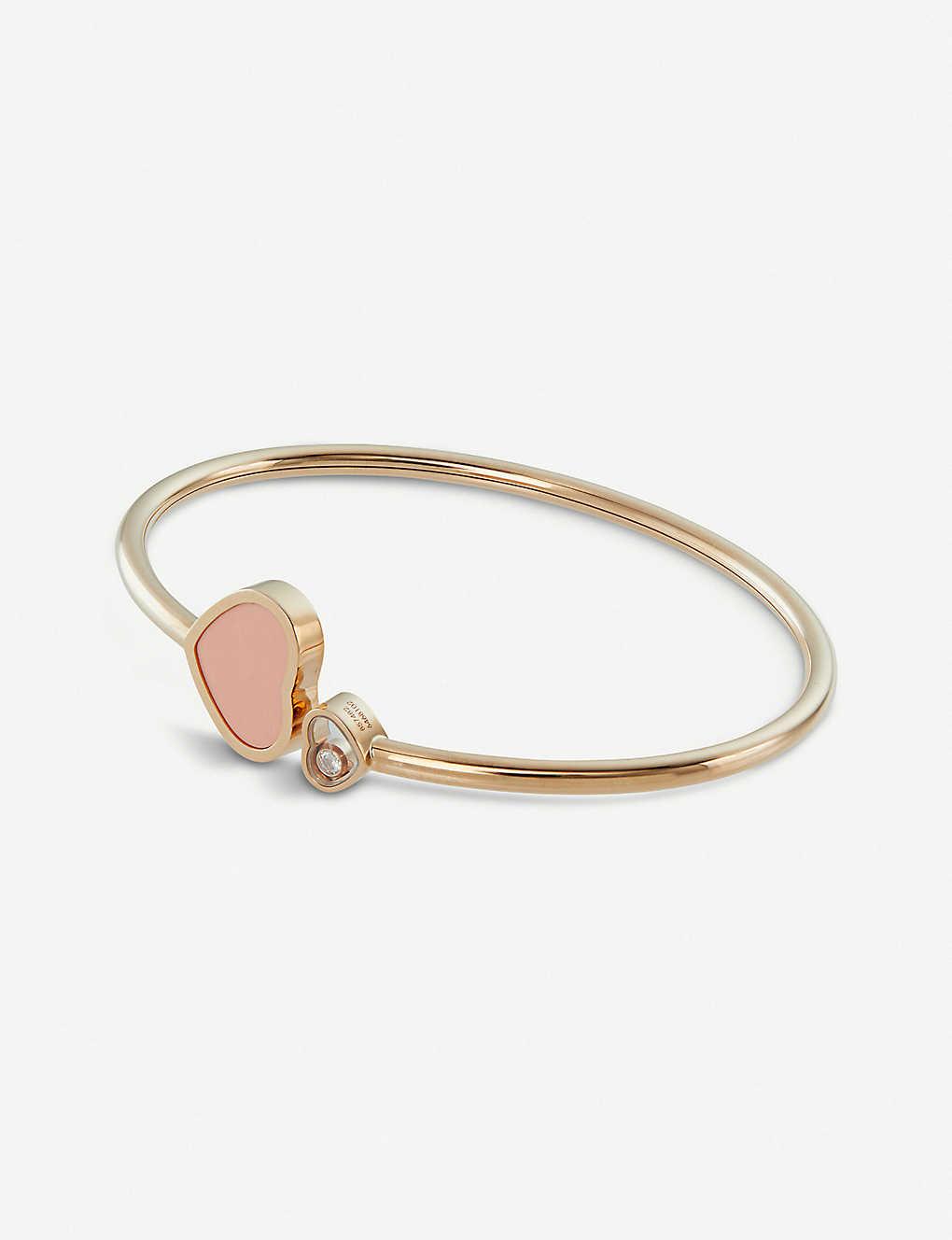 635dd39ae8b00 Happy Hearts 18ct rose-gold, diamond and coral bangle