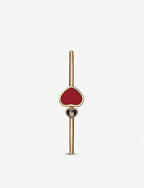 CHOPARD Happy Hearts 18ct rose-gold and red stone bangle