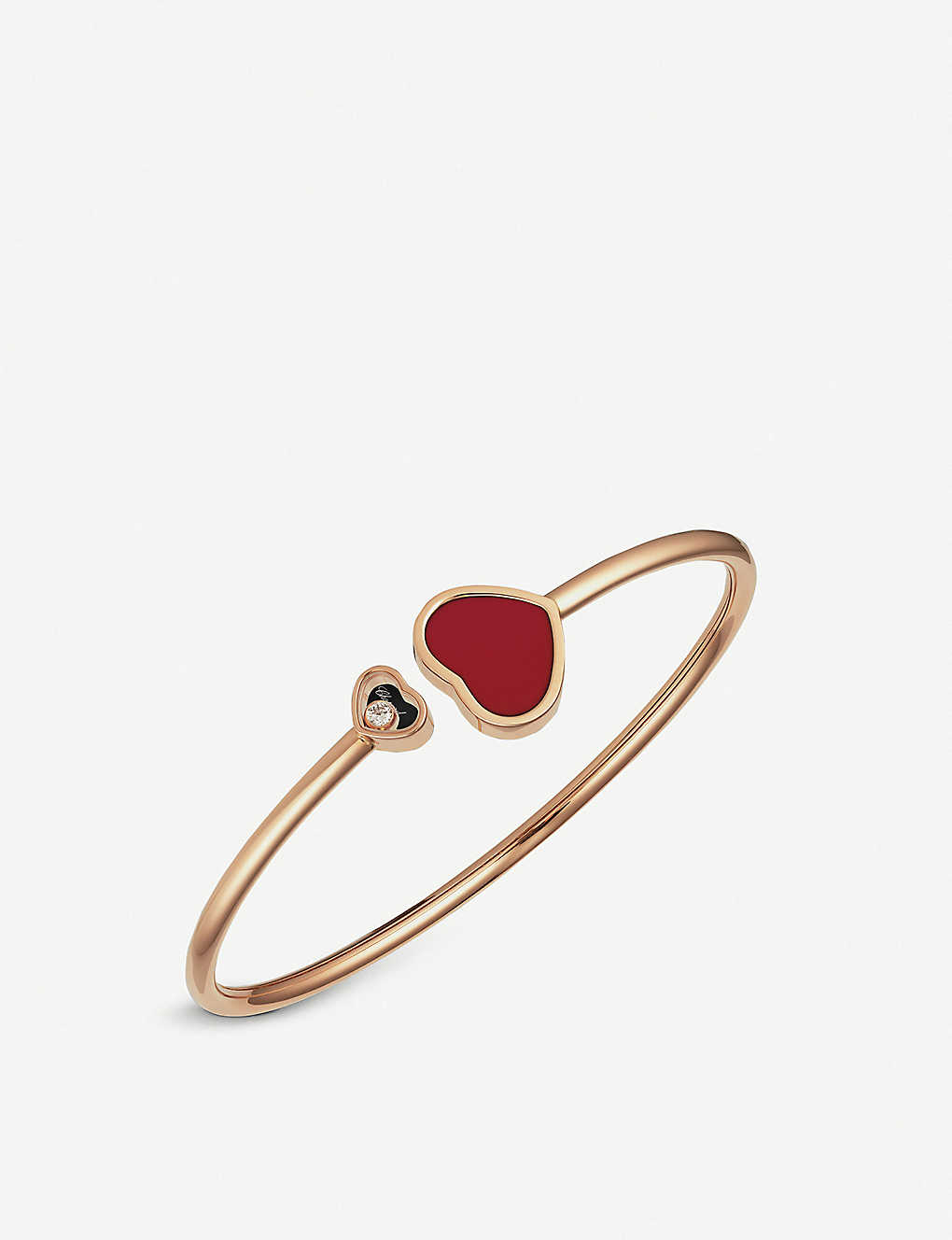 573263f6751e1 Happy Hearts 18ct rose-gold and red stone bangle