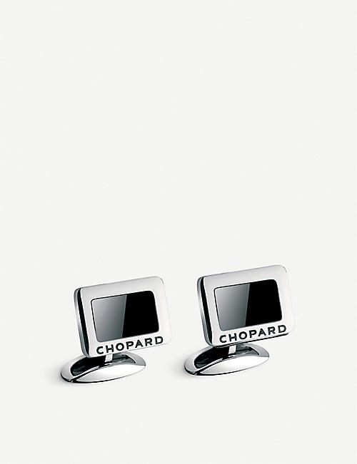 CHOPARD Carbon stainless steel and onyx cufflinks