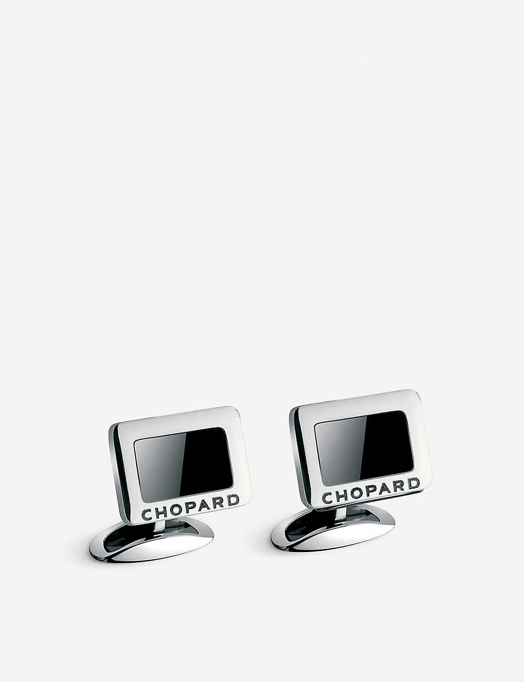 CHOPARD: Carbon stainless steel and onyx cufflinks