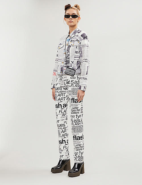 DEPOP Don Majors Moschino newspaper-print denim jacket