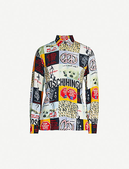 DEPOP No Racism graphic-print crepe shirt