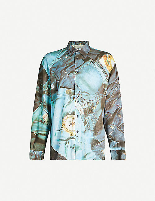 DEPOP Don Majors Moschino denim-print cotton shirt