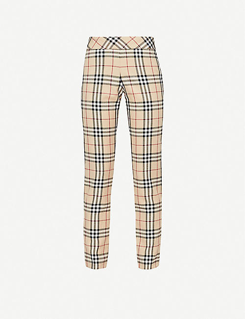 DEPOP Serotonin Vintage Burberry checked-pattern straight wool-blend trousers