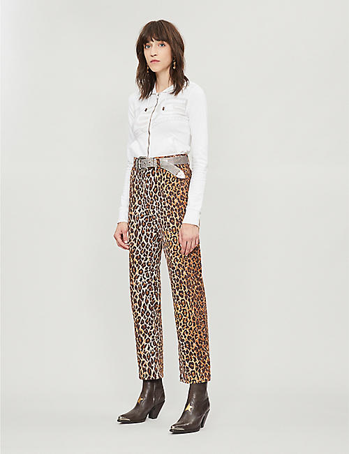 dc2192a553d8 DEPOP Serotonin Vintage Dolce & Gabbana leopard-print cotton straight-leg  trousers