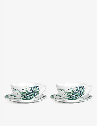 JASPER CONRAN @ WEDGWOOD: Chinoiserie fine bone china teacup and saucer set of two