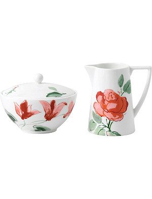 JASPER CONRAN @ WEDGWOOD Floral bone china cream and sugar set