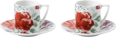 JASPER CONRAN @ WEDGWOOD Floral bone china espresso cup and saucer set of 2