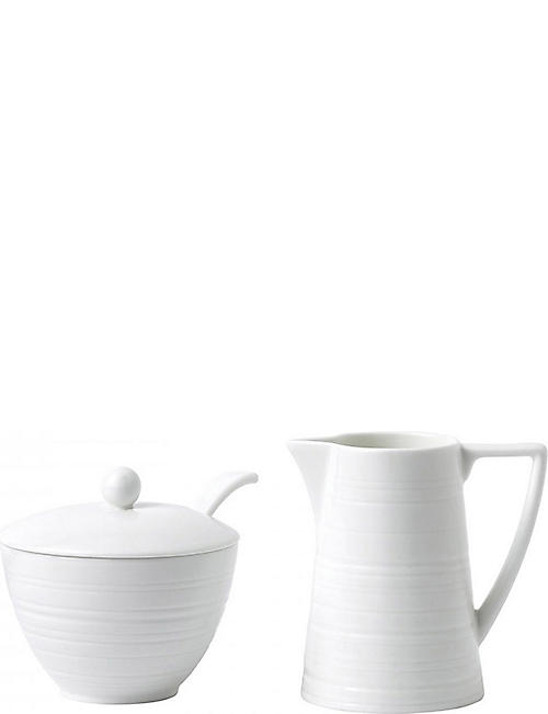 JASPER CONRAN @ WEDGWOOD: Strata bone china cream and sugar set
