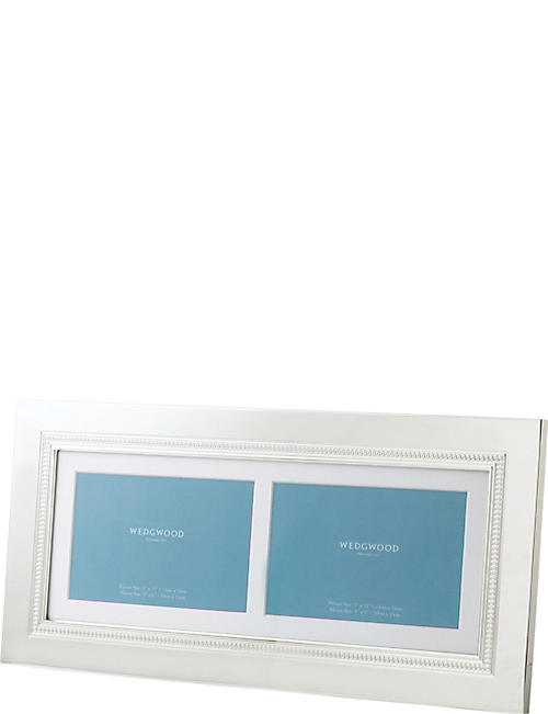 WEDGWOOD: Simply Wish silver-plated double photo frame