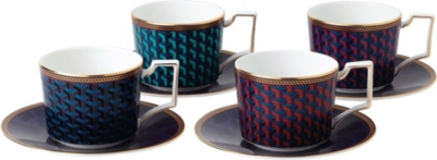 WEDGWOOD Byzance fine bone china and 22ct gold teacup and saucer set of four