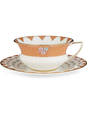 WEDGWOOD Wonderlust Peony Diamond teacup and saucer set