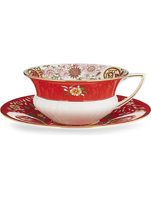 WEDGWOOD Wonderlust Crimson Orient teacup and saucer
