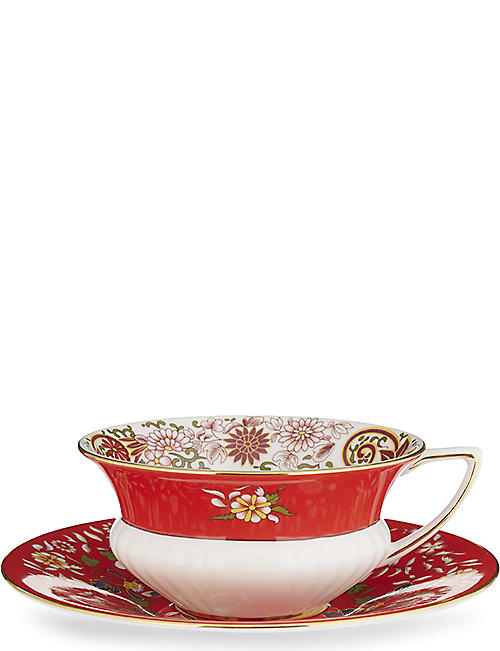 WEDGWOOD: Wonderlust Crimson Orient teacup and saucer
