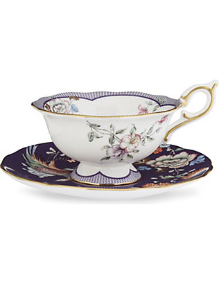 WEDGWOOD: Wonderlust Midnight Crane teacup and saucer