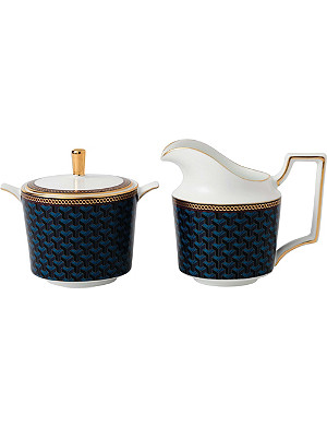 WEDGWOOD Byzance fine bone china and 22ct sugar bowl and cream jug