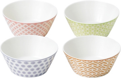 ROYAL DOULTON Set of four pastel melamine bowls