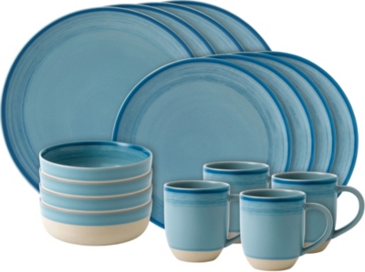 ROYAL DOULTON Ellen DeGeneres Brushed Glaze Polar Blue 16-piece dining set
