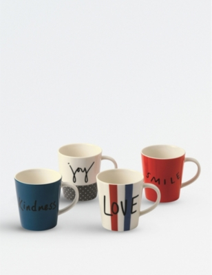 WEDGWOOD Ellen DeGeneres joy mugs set of four