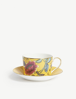 WEDGWOOD Wonderlust Yellow Tonquin teacup and saucer