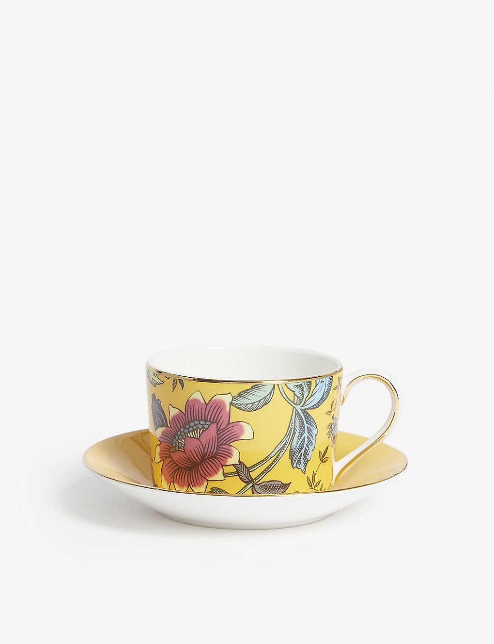 WEDGWOOD: Wonderlust Yellow Tonquin teacup and saucer