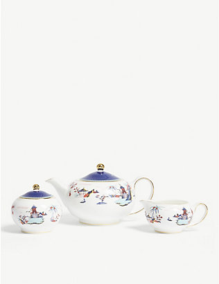 WEDGWOOD: Wonderlust Blue Pagoda china tea set of three
