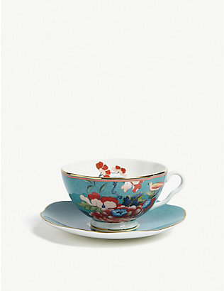 WEDGWOOD: Paeonia Blush china teacup and saucer