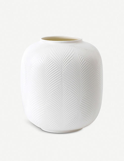 WEDGWOOD: White Folia rounded vase 21cm