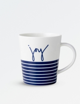 ROYAL DOULTON ED Ellen Degeneres blue stripe joy porcelain mug
