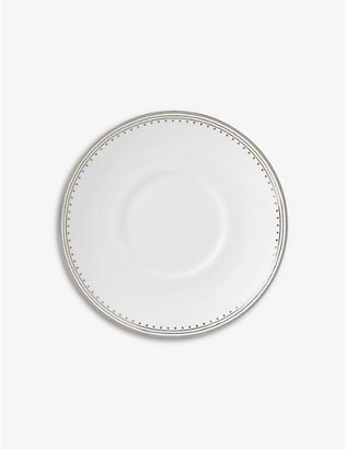 VERA WANG @ WEDGWOOD: Grosgrain platinum-bonded fine bone-china coffee saucer 4.7cm