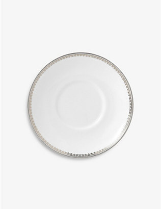 VERA WANG @ WEDGWOOD: Lace platinum-bond porcelain coffee saucer 4.7cm