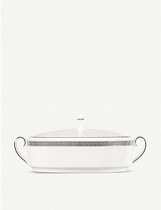 VERA WANG @ WEDGWOOD: Lace-motif bone china vegetable dish 30cm x 19cm