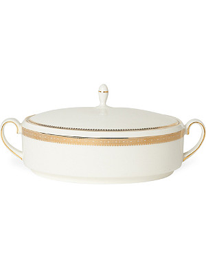 VERA WANG @ WEDGWOOD Lace Gold covered vegetable dish