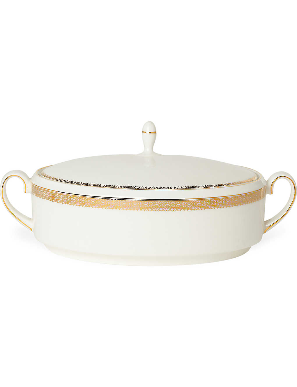 VERA WANG @ WEDGWOOD: Lace Gold covered vegetable dish