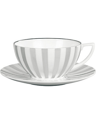 JASPER CONRAN @ WEDGWOOD: Platinum Striped fine bone china teacup 13cm x 11cm