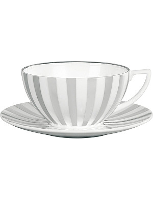 JASPER CONRAN @ WEDGWOOD Platinum Striped fine bone china teacup 13cm x 11cm