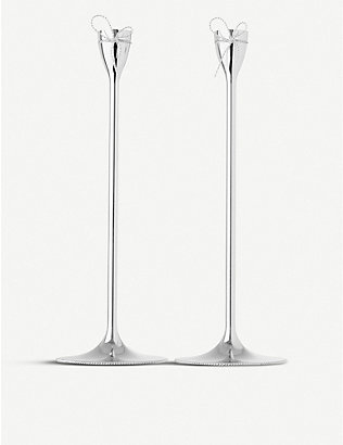 VERA WANG @ WEDGWOOD: Love Knots Taper silver-plated candle holders set of two
