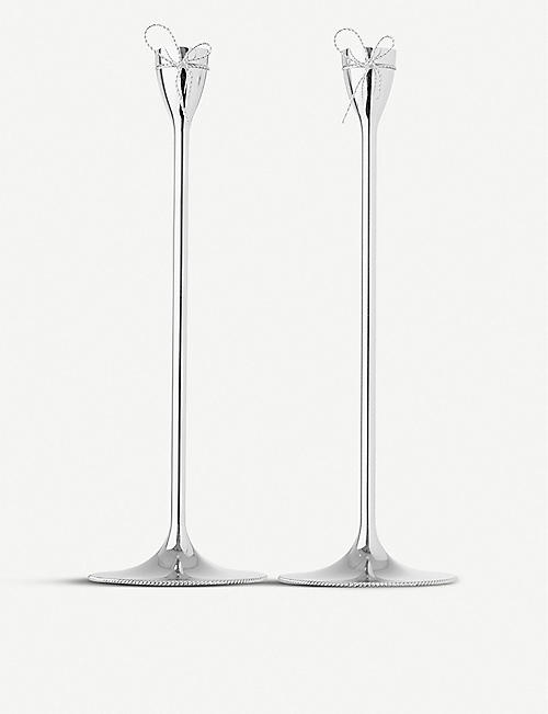 VERA WANG @ WEDGWOOD Taper silver-plated set of two candle holders