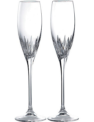 VERA WANG @ WEDGWOOD: Duchesse set of 2 crystal champagne flutes
