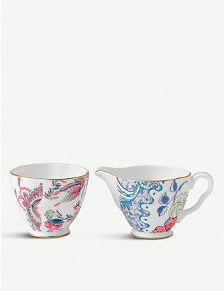 WEDGWOOD: Butterfly bloom fine bone china sugar bowl and cream jug