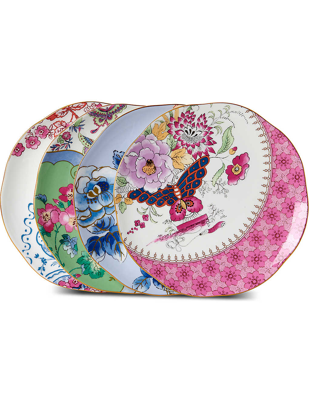 WEDGWOOD: Butterfly Bloom set of four plates