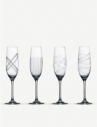 WATERFORD: Party crystal champagne flutes set of four