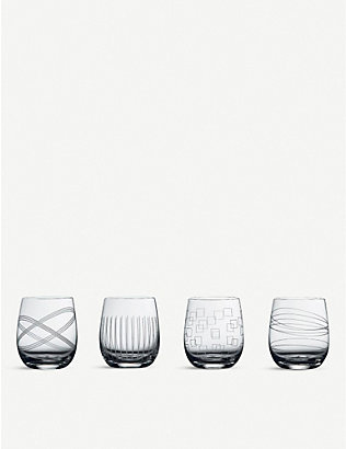 WATERFORD: Party crystal tumbler glasses set of four