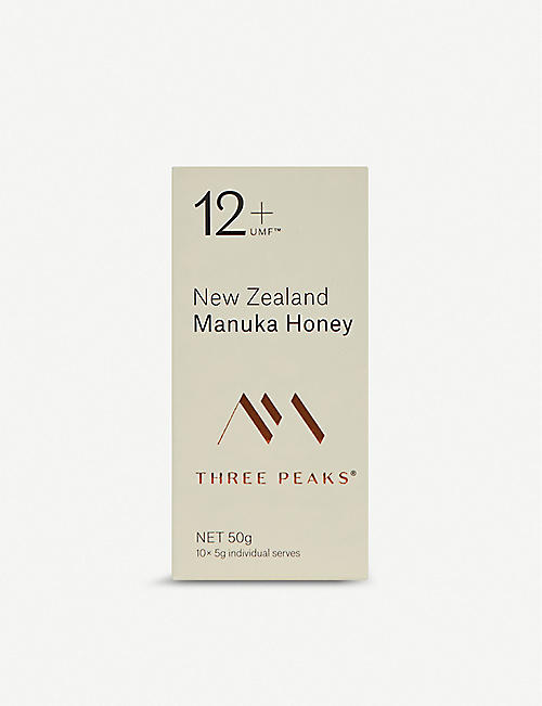 THREE PEAKS MANUKA HONEY: Manuka honey single serve 10 pack 50g