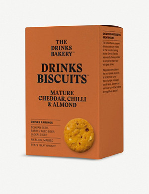 THE DRINKS BAKERY Cheddar, chilli & almond biscuits 110g