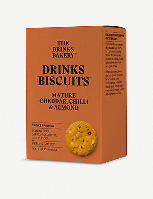 THE DRINKS BAKERY: Cheddar, chilli & almond biscuits 110g