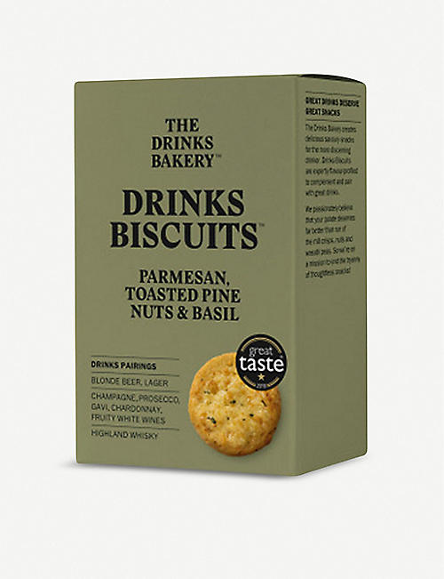 THE DRINKS BAKERY Parmesan, pinenut & basil biscuits 110g