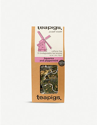 TEAPIGS: Caffeine-free liquorice and peppermint tea box of 15