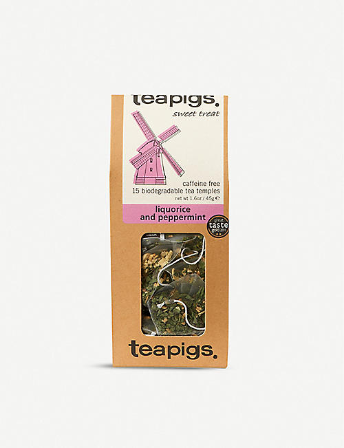TEAPIGS Caffeine-free liquorice and peppermint tea box of 15